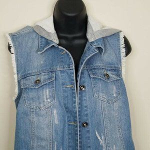 Empyre Hooded Jean Vest Size Large